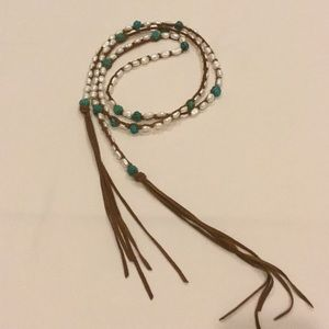Pearl and hand carved turquoise bead lariat